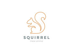 Squirrel Logo design vector template Linear style. Squirrel Logo design vector template Linear style Stock Images