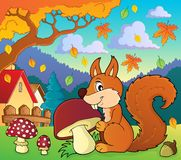 Squirrel with mushroom theme image 2 Royalty Free Stock Images