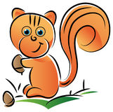 Squirrel. With a nut illustrated cartoon image Stock Image