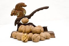 Squirrel nutcracker and walnuts. Isolated Royalty Free Stock Images