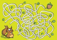 Squirrel o jogo do labirinto Fotos de Stock