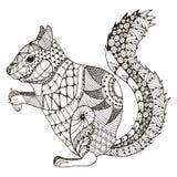Squirrel o zentangle estilizado, vetor, ilustração, teste padrão, livre ilustração royalty free