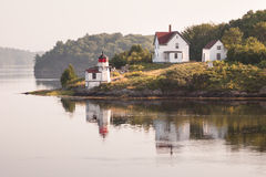 Squirrel Point Lighthouse. On Arrowsic Island along the Kennebec River in Maine Royalty Free Stock Image