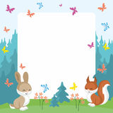 Squirrel and rabbit background Royalty Free Stock Images