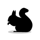 Squirrel rodent mammal black silhouette animal. Vector Illustrator Stock Images