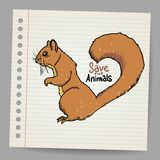 Squirrel with save the animals sign Royalty Free Stock Images