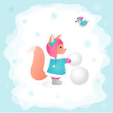 Squirrel sculpts a snowman in a forest. Children's illustration. Perfect for design cards. Squirrel sculpts a snowman in a forest. Children's illustration Royalty Free Stock Photo