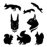Squirrel set vector. Squirrel set of silhouettes vector royalty free illustration