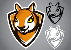 Squirrel shield brown logo vector emblem. Illustration design idea creative sign Stock Photos