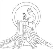The squirrel on a stumpl, coloring page for art-therapy, illustration in doodle style. Royalty Free Stock Photography
