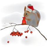 Squirrel on a tree branch and snow Stock Photography