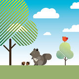Squirrel with two hazelnuts, trees and a bird. An illustration of a squirrel sitting under a tree in front of two hazelnuts on a bright sunny summer day with an Royalty Free Stock Photos