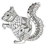 Squirrel zentangle stylized, vector, illustration, pattern, free Stock Photography