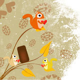 Squirrels. And flowers background vector Royalty Free Stock Images