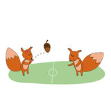 Squirrels play with acorn on the field Stock Image