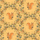 Squirrels on yellow seamless pattern Stock Images