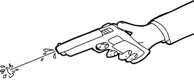 Squirt Gun Outline. Cartoon outline of hand shooting squirt gun Stock Images