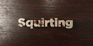 Squirting - grungy wooden headline on Maple  - 3D rendered royalty free stock image Royalty Free Stock Photo