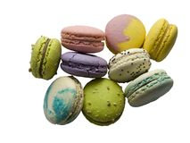 Squisitezza dolce francese, primo piano di varietà dei maccheroni, pasta isolata immagine stock libera da diritti