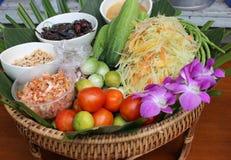 Squisito piccante di cucina tailandese dell'insalata della papaia Fotografia Stock Libera da Diritti