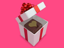 Squre 3d hard chocolate into gift box Royalty Free Stock Photos