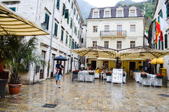 Squre in the rain  in  the old city Kotor ,Montenegro Stock Images