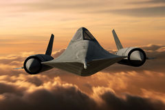 SR-71 Black Bird. SR-71 supersonic Black Bird flying above cloud level Royalty Free Stock Photography