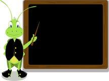 Sr. Críquete e um quadro-negro ilustração royalty free