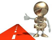 Sr. dólar na estrada Ilustração do Vetor