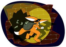 Sr. El Fox se escapa con un bolso del dinero robado en el banco ilustración del vector
