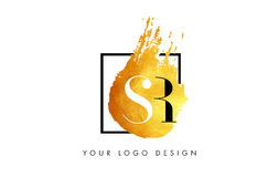 SR Gold Letter Logo Painted Brush Texture Strokes. Royalty Free Stock Image