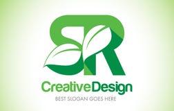SR Green Leaf Letter Design Logo. Eco Bio Leaf Letter Icon Illus Royalty Free Stock Photography