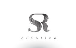 SR Logo Design With Multiple Lines and Black and White Colors. stock illustration