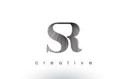 SR Logo Design With Multiple Lines et couleurs noires et blanches illustration stock