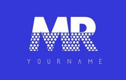 SR. M R Dotted Letter Logo Design con el fondo azul Foto de archivo