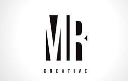 SR. M R White Letter Logo Design con la casilla negra Fotografía de archivo