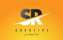SR S R Letter Modern Logo Design with Yellow Background and Swoo. SR S R Letter Modern Logo Design with Swoosh Cutting the Middle Letters and Yellow Background Royalty Free Stock Photo