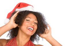Sra. amigável de sorriso feliz Papai Noel Fotos de Stock
