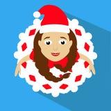 A Sra. da menina Santa Claus em um tampão vermelho a vista superior, olha acima saia no floco de neve do olhar Dança, danças No f Fotos de Stock Royalty Free