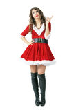 Sra. séria Dedo do xingamento de Santa Claus que olha acima foto de stock