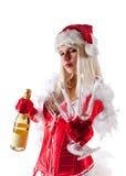 Sra. sensual Santa com frasco do champanhe Imagens de Stock