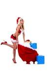 Sra. 'sexy' Santa Natal Entrega Fotografia de Stock