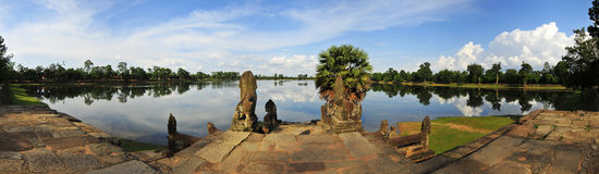 Sra Srang, Koninklijk Zwembad, Angkor Wat, Kambodja Royalty-vrije Stock Afbeelding