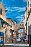 Srael, Jerusalem, traffic on the Via Dolorosa. Royalty Free Stock Image