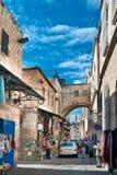 Srael, Jerusalem, traffic on the Via Dolorosa. Via Dolorosa famous street in the Christian world Royalty Free Stock Image