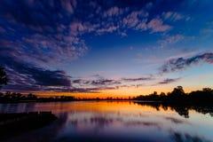 Ανατολή της λίμνης Srah Srang Στοκ Φωτογραφία