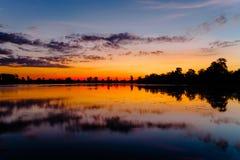 Ανατολή της λίμνης Srah Srang Στοκ φωτογραφία με δικαίωμα ελεύθερης χρήσης