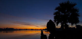 Srah Srang sunrise. A beautiful sunrise at Srah Srang Angkor Cambodia Royalty Free Stock Photos