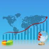 Srategickaart, met het diagram en de bol Stock Afbeelding