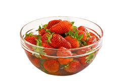 Srawberries in a bowl. Fresh strawberries in a bowl made of glass Royalty Free Stock Photo